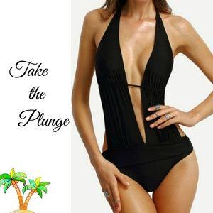 Other - Deep Plunge Halter Monokini Swim Suit